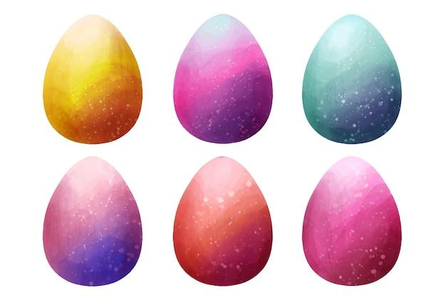 Dia da páscoa ovo coleção aquarela design