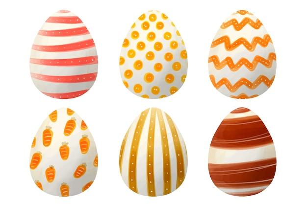 Dia da páscoa ovo coleção estilo aquarela