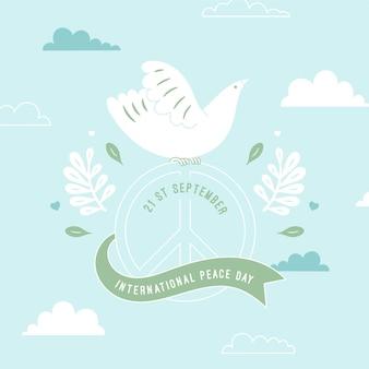 Dia da paz branco pombo e fita