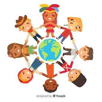 Dia da paz com as crianças de mãos dadas ao redor do mundo