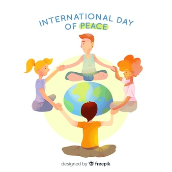 Dia da paz com as crianças de mãos dadas em torno da palavra