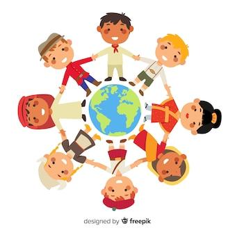 Dia da paz com as crianças de mãos dadas