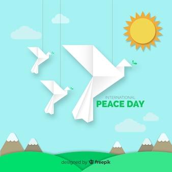 Dia da paz com pombas de origami