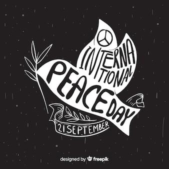 Dia da paz composição com pomba branca desenhada de mão