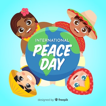 Dia da paz e crianças de todo o mundo