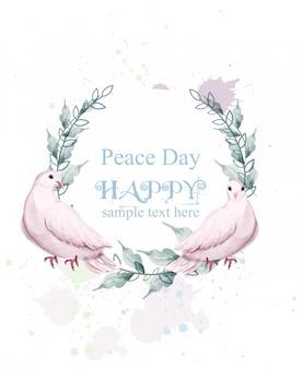 Dia da paz em aquarela com grinalda de pássaros de pomba