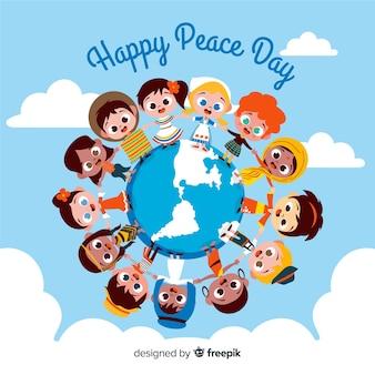 Dia da paz fundo crianças segurando as mãos ao redor do mundo