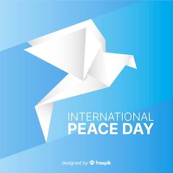 Dia da paz internacional de origami e pomba