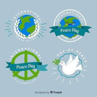 Dia da paz plana rodada coleção de crachá