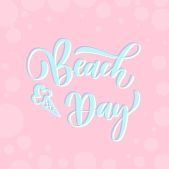 Dia da praia - cartão de letras.