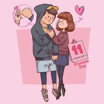 Dia da promessa super fofo amor alegre romântico casal dos namorados presente de namoro desenhado à mão ilustração colorida