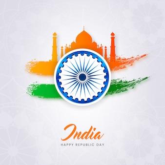 Dia da república criativa da índia cartaz com mesquita de taj mahal