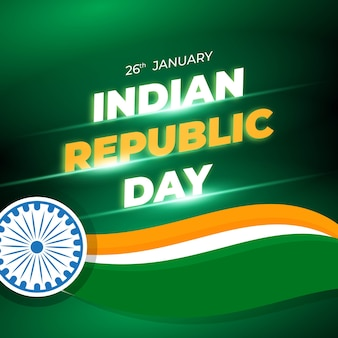 Dia da república da índia 26 de janeiro. banner ou modelo de plano de fundo para a celebração do feliz dia da república da índia