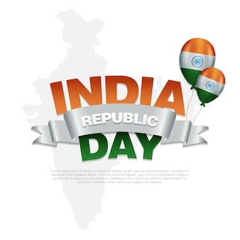 Dia da república da índia com balão dos estados indianos