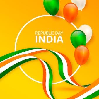 Dia da república da índia realista com balões