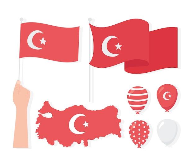 Dia da república da turquia, mapa sinalizadores balões ícones conjunto ilustração