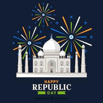 Dia da república indiana com taj mahal