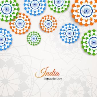 Dia da república indiana com tri cor floral