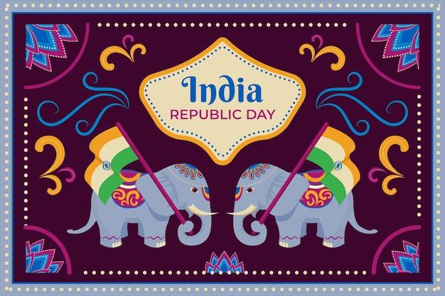 Dia da república indiana de design plano com ilustração de elefante