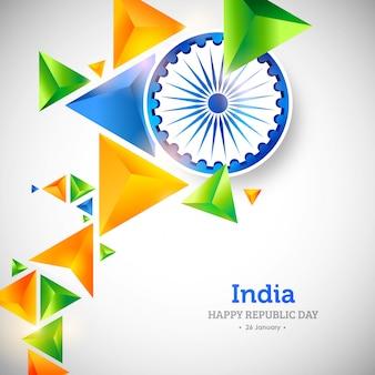Dia da república indiana fundo 3d poligonal criativo