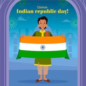 Dia da república indiana mão desenhada