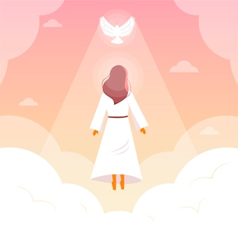 Dia da ressurreição religiosa com pombo