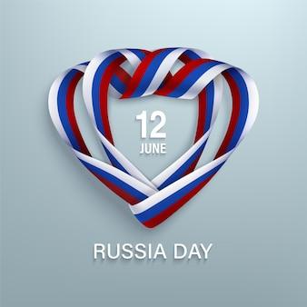 Dia da rússia, 12 de junho, cartão com fitas tricolores nacionais enroladas em forma de coração