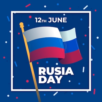 Dia da rússia com bandeira e confetes