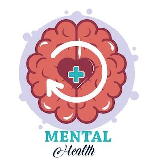 Dia da saúde mental, ilustração do tratamento médico da psicologia do cérebro humano do coração