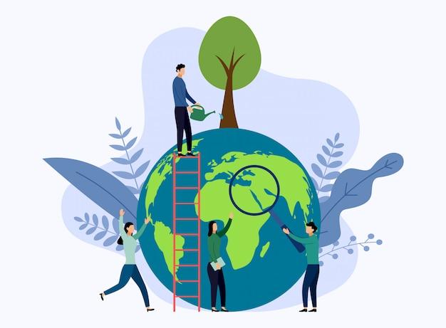 Dia da terra com o mundo, conceito amigável de eco