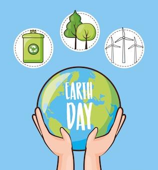 Dia da terra, conjunto de ícones com lata de reciclagem, árvores e planeta, ilustração