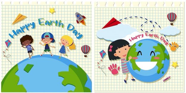 Dia da terra feliz com crianças na terra
