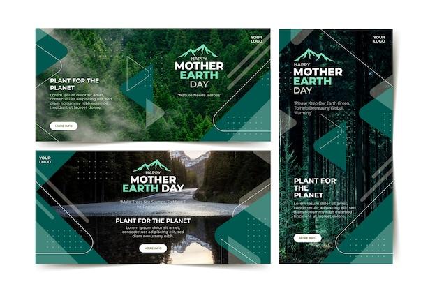 Dia da terra mãe banner em design plano