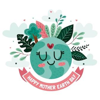 Dia da terra mãe fundo aquarela