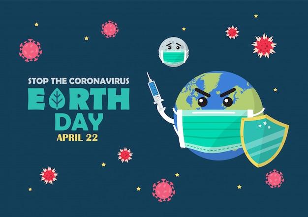 Dia da terra pare o conceito de coronavírus