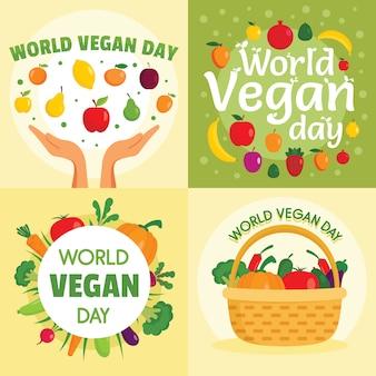 Dia da vegan bandeira conjunto.