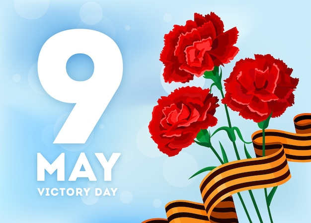 Dia da vitória russa com cravo e fitas