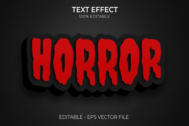 Dia das bruxas 3d criativo e efeitos de texto editáveis de terror vetor premium