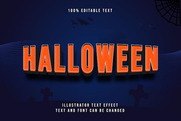Dia das bruxas, 3d editável texto efeito laranja gradação padrão estilo moderno sombra