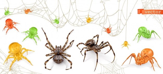 Dia das bruxas. aranhas vermelhas, amarelas e verdes. conjunto de vetores realistas 3d