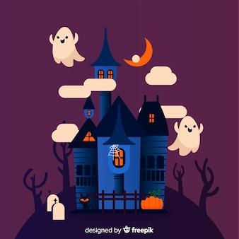 Dia das bruxas assombrada casa com design plano