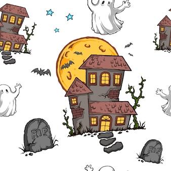 Dia das bruxas assombrado house seamless pattern