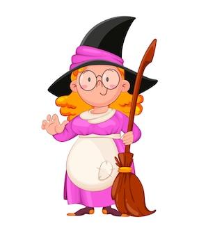 Dia das bruxas. bruxa engraçada com vassoura