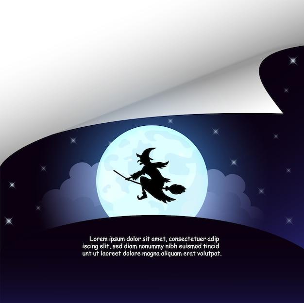 Dia das bruxas com a bruxa na lua cheia.