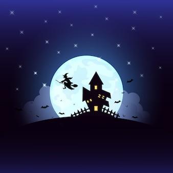Dia das bruxas com a casa da silhueta da bruxa na lua cheia.