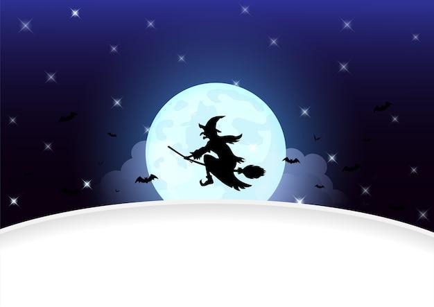 Dia das bruxas com a silhueta de bruxa na lua cheia.