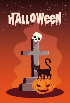 Dia das bruxas com gato e ícones