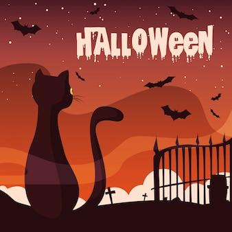 Dia das bruxas com gato e morcegos voando