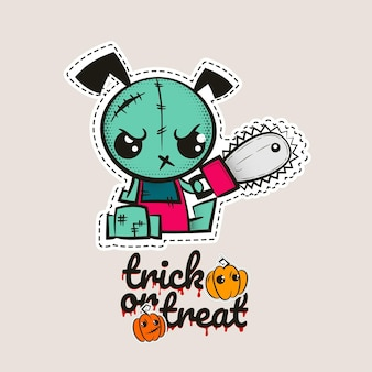 Dia das bruxas com pontos de zumbi, filhote de cachorro, boneca vodu, cachorro malvado, monstro de costura, abóboras doces ou travessuras