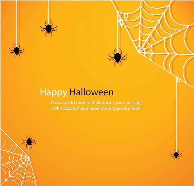 Dia das bruxas com vetor de fundo amarelo de teia de aranha